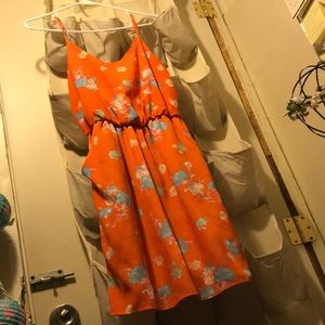 Dress Orange Light Blue Flowers